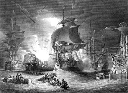 antique: An engraved  illustration image of  the Battle of The Nile, from a vintage Victorian book dated 1886 that is no longer in copyrigh Stock Photo