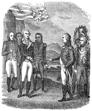 surrender: An engraved vintage illustration image of a the Surrender of Cornwallis during the USA  American Revolutionary War, from a Victorian book dated 1880 that is no longer in copyright