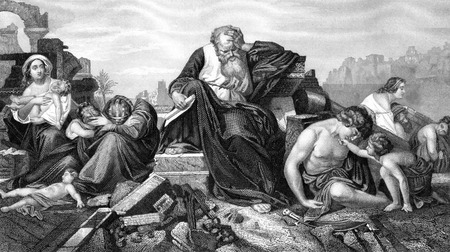 cristianismo: Una imagen ilustración grabada del profeta Jeremías lamentando sobre Jerusalén, de una época victoriana biblia de fecha 1852, que ya no está en el derecho de autor