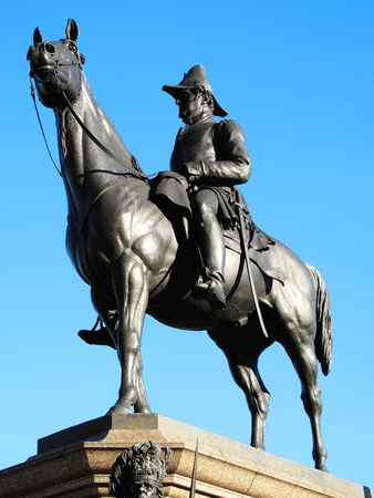 wellesley: The Victorian bronze equestrian statue of the Duke of Wellington on his horse Copenhagen stands at Hyde Park Corner, London, England,UK. It was sculpted by Joseph Boehm and was unveiled in 1888