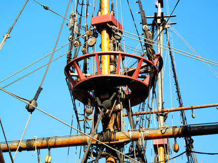 rigging: The Golden Hinde is docked at the side of the River Thames, London, England, UK. It is a full sized exact replica of Sir Francis Drakes 16th Century warship which he use to circumnavigate the world along with a little piracy on the way