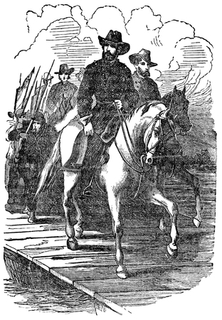 19th century: An engraved vintage illustration image of a General Ulysses Grant marching on Richmond during the American Civil War, from a Victorian book dated 1880 that is no longer in copyright