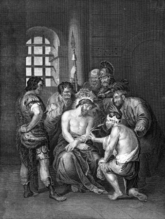 cristianismo: Un retrato grabado ilustración dibujo de Jesucristo con la corona de espinas antes de la Crucifixión, de una biblia de fecha 1852 que ya no está en el derecho de autor