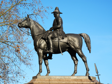 The Victorian bronze equestrian statue of the Duke of Wellington on his horse Copenhagen stands at Hyde Park Corner, London, England,UK. It was sculpted by Joseph Boehm and was unveiled in 1888