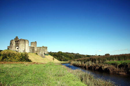 13th: Kidwelly Castle, Kidwelly, Carmarthenshire, Wales, UK is a ruin of a 13th century medieval castle