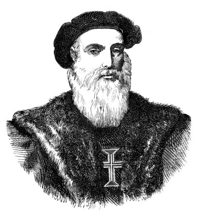 dated: An engraved illustration portrait of the Portuguese explorer Vasco De Gama  from a Victorian book dated 1877 that is no longer in copyright