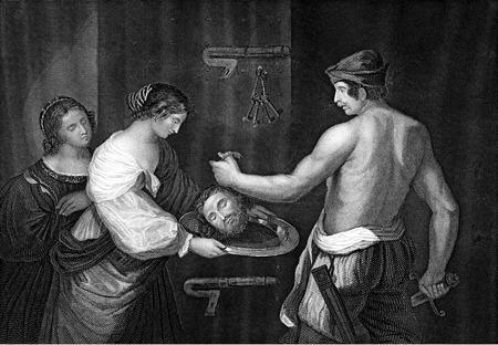 sacrificio: Una ilustración de la vendimia grabado la imagen de la cabeza de Juan el Bautista, de una biblia de fecha 1852 que ya no está en el derecho de autor Foto de archivo