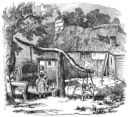 19th: An engraved illustration of  a cucking chair also known as a ducking chair at a village well from a Victorian book dated 1883 that is no longer in copyright