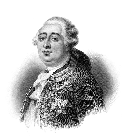 An engraved illustration portrait of King Louis XVI during the French Revolution  from a Victorian book dated 1881 that is no longer in copyright Banco de Imagens