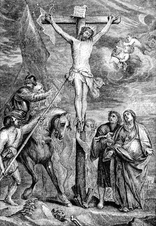 new testament: An engraved illustration image of  The Crucifixion of Jesus Christ  from a Victorian Bible dated 1883 that is no longer in copyright Stock Photo
