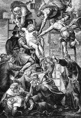 cristianismo: Una ilustración grabada la imagen de la crucifixión de Jesucristo de una biblia de estilo victoriano de fecha 1883 que ya no está en el derecho de autor