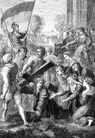 Een gegraveerde illustratie van de kruisiging van Jezus Christus uit een Victoriaanse Bijbel gedateerd 1883, dat is niet meer in het auteursrecht Stockfoto - 51139902