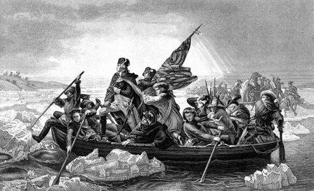Een gegraveerde afbeelding van George Washington die de Rivier van Delaware tijdens de Amerikaanse Revolutionaire Oorlog, van een Victoriaanse boek gedateerd 1886, dat is niet meer in het auteursrecht Redactioneel