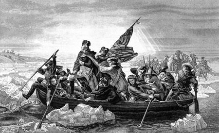 An engraved illustration of George Washington crossing the River Delaware during the American Revolutionary War, from a Victorian book dated 1886 that is no longer in copyright Editorial