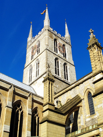 southwark: Southwark Cathedral stands at the south end of London Bridge, London, England, UK. It is believed to have been built around 666AD, largely rebuilt in a Norman Gothic style after a fire in 1206AD and has a memorial to William Shakespeare, whos Globe Theatr