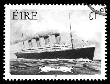 ephemera: Black and white image of a Republic of Ireland Eire postage stamp showing an image of RMS Titanic, built in Belfast , Ireland and sunk on its maiden voyage in 1912,from Southampton, England to New York, USA Editorial