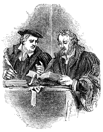 16th century: An engraved vintage portrait illustration of  Martin Luther and Philip Melancthon leading figures of the Protestant Reformation, from a Victorian book dated 1877 that is no longer in copyright