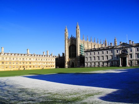 cambridgeshire: Kings College and Clare College, Cambridge University, Cambridgeshire, England, UK in winter with a clear blue sky