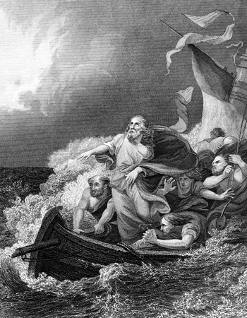 the gospels: An engraved vintage illustration image of Jesus Christ calming the storm, from a Bible dated 1852 that is no longer in copyright
