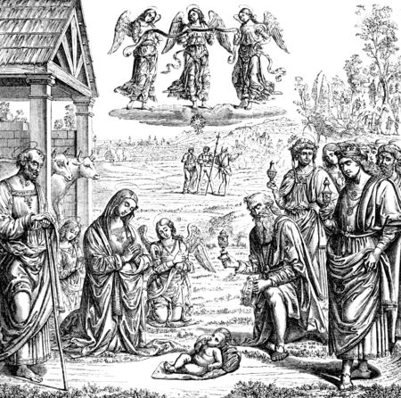 An engraved vintage illustration of The Adoration of the Magi at the Nativity from a Victorian book dated 1883 that is no longer in copyright Stock Photo