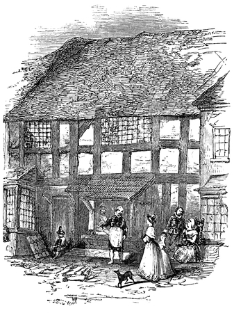 bard: An engraved vintage illustration image portrait of the birthplace house of Elizabethan playwright William Shakespeare, from a Victorian book dated 1883 that is no longer in copyright Stock Photo