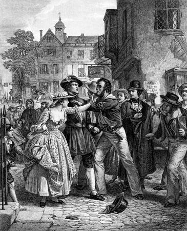 pandilla: Un retrato de la vendimia ilustración imagen grabada de los marineros de la Marina Real Press Gang, de un libro de estilo victoriano de fecha 1886 que ya no está en el derecho de autor