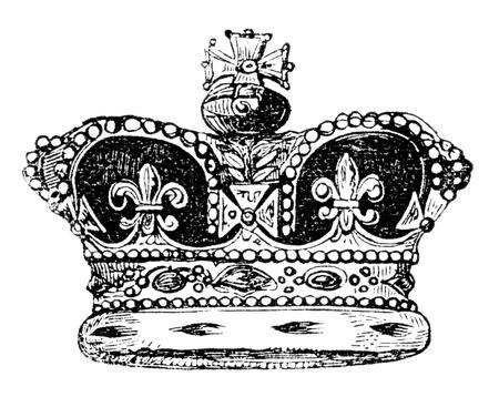gronostaj: Wygrawerowanym rocznika portret ilustracja brytyjskiej korony Anglii, z wiktoriańskiej książki z dnia 1847, że nie jest już w prawie autorskim