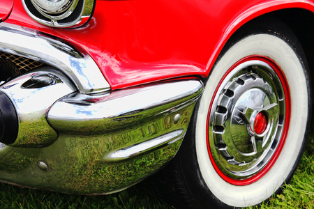 bygone: Old vintage red classic collectors car Stock Photo