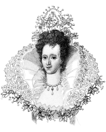An engraved vintage illustration portrait image of Elizabeth I queen of England, UK, from a Victorian book dated 1847 that is no longer in copyright