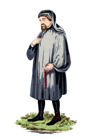 bard: An engraved vintage colour illustration portrait drawing of Geoffrey Chaucer the famous English poet and author of  The Canterbury Tales, from a Victorian book dated 1847 that is no longer in copyright