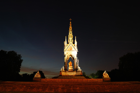 The Albert Memorial at night in Kensington, London, England, UK which was built between 1863 and 1876 to commemorate the death of Queen Victorias beloved consort Prince Albert