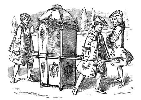 19th century: An engraved vintage illustration image of an old fashioned Georgian Sedan Chair with a lady passenger from a Victorian book dated 1883 that is no longer in copyright