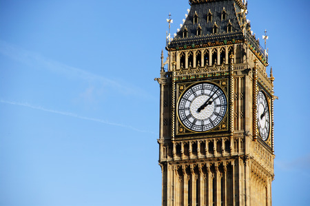 international landmark: The world famous international landmark Big Ben of the Houses Of Parliament in Westminster, London, England, UK which was built on the site of the Royal Palace Of Westminster, in a Gothic style, after a fire in 1834