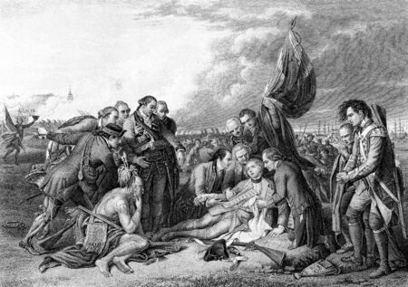 general: An engraved vintage illustration image of the death of General James Wolfe at the Battle of Quebec, from a Victorian book dated 1886 that is no longer in copyright Stock Photo