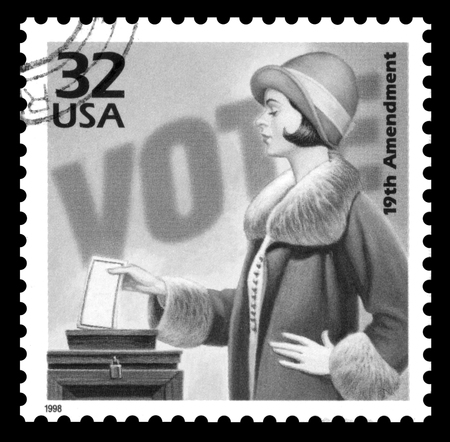 women's issues: USA vintage 1970s postage stamp commemorating 50 years of the the womens suffrage movement, black and white image Editorial