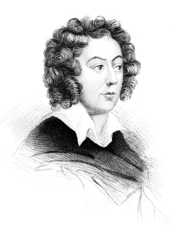 henry: An engraved vintage illustration portrait image of Henry Purcell 1659-1695 the famous English classical music composer, from a Victorian book dated 1847 that is no longer in copyright