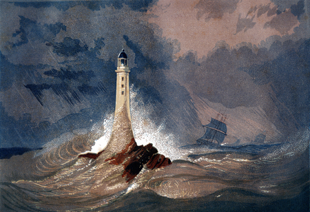 An engraved vintage colour illustration of Eddystone Lighthouse (Smeaton's Tower), from a Victorian book dated 1847 that is no longer in copyright Editorial