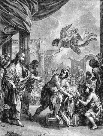 new testament: An engraved illustration drawing of Jesus Christ raising Lazarus from the dead, from a Victorian bible book dated 1883 that is no longer in copyright Stock Photo