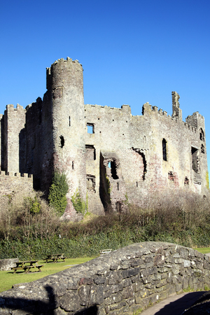12th century: Laugharne Castle, Laugharne, Carmarthenshire, Wales, UK is a ruin of a 12th century medieval castle