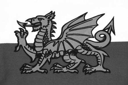 welsh flag: La bandiera nazionale del Galles conosciuta come Y Ddraig Goch (Il Barone Rosso), purtroppo, non incluso nella Union Jack del Regno Unito. immagine in bianco e nero Welsh