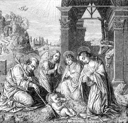 christianity: An engraved vintage illustration image of the Nativity of Jesus Christ, from a Victorian bible book dated 1883 that is no longer in copyright