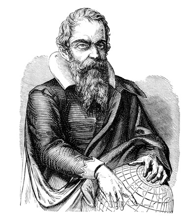 mathematician: An engraved vintage portrait illustration image of Galileo from a Victorian book dated 1877 that is no longer in copyright
