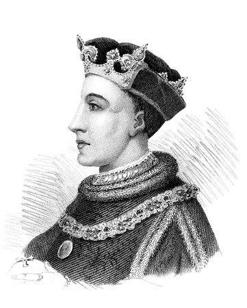 period costume: An engraved vintage illustration portrait image of Henry V king of England, UK, from a Victorian book dated 1847 that is no longer in copyright