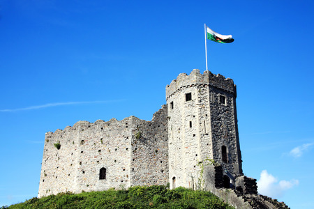 earlier: Cardiff Castle, Cardiff, Wales, UK is a ruin of a 12th century Norman medieval castle built on an earlier motte and bailey of the 11th century