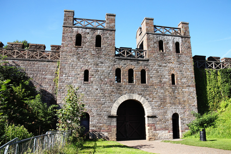 12th century: Cardiff, Wales, UK , August 31, 2016 :  The North Gate of Cardiff Castle in Castle Street is a 12th century ruin which is one of the cities most popular visitor attractions