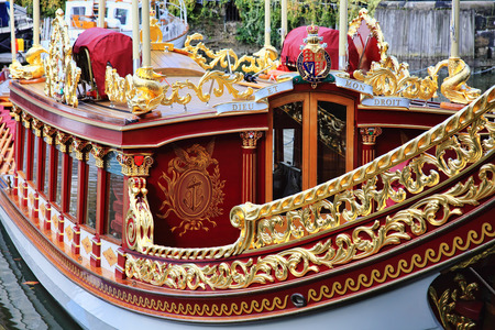 London, UK , October 14, 2012 : Gloriana the royal barge used at the Thames Diamond Jubilee Pageant moored at St Catherine Dock