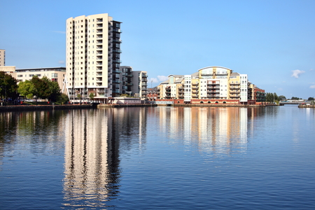 regenerated: Cardiff, Wales, UK, September 14, 2016 :  Roath Basin which was the largest undeveloped site in Cardiff Bay and is now being regenerated with new homes and commercial spaces
