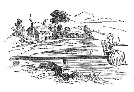 agachado: Una ilustración grabada de un taburete de atenuación de un libro de estilo victoriano de fecha 1883 que ya no está en el derecho de autor