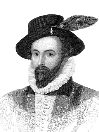 period costume: An engraved vintage illustration portrait image of Sir Walter Raleigh from a Victorian book dated 1847 that is no longer in copyright