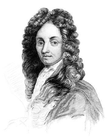 An engraved vintage illustration portrait image of Sir Christopher Wren from a Victorian book dated 1847 that is no longer in copyright
